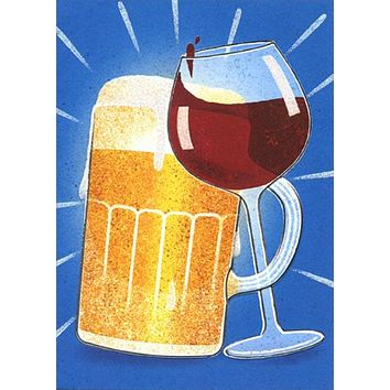 Anniversary Greeting Card  - Beer and Wine Friends