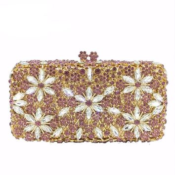 Handmade Assortment of Evening Flower Gem Motifs Clutch Purse with Crystal and Metal Foundation