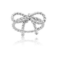 Sterling Silver Twisted Bow Ring (Size 9)