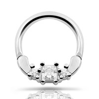 Nose Piercing Nose Septum Clicker 1pc 316L Stainless Steel Septum Clicker Hinger Clear CZ Nose Ring Ear Cartilage Nose Cuff Ring