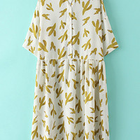Multicolor Band Collar Buttons Front Cactus Print Dress
