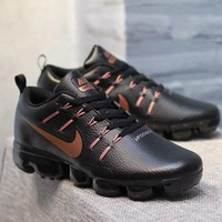 KUYOU N319 Nike Air Vapormax Flyknit Leather Casual Running Shoes Black Brown