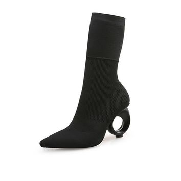 Bette Black Sock Boots with Round Heels 2 Colors