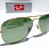 Cheap NEW* Ray Ban AVIATOR 58mm GOLD w POLARIZED Green Lens Sunglass RB 3025 001/m4 outlet