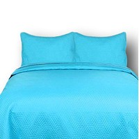 DaDa Bedding Gentle Wave Turquoise Teal Blue Lagoon Lightweight Quilted Bedspread Set (LH3000)