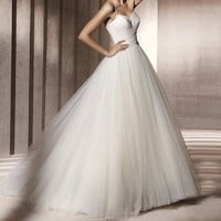 Pronovias Inspired Vintage Feathers White Ivory Tulle Wedding Dress Bridal Gown Strapless Sweetheart Prom Ball Gown