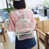 Clear Backpacks popular Fashion Hologram Small Laser Transparent Backpack Waterproof PVC Clear Daily Backpack Teenage Girls School Bag Shiny AT_62_4