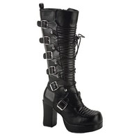 3 3/4 Inch Lace Up Gothic Boots Black Womens Boots Chunky Heel Buckles