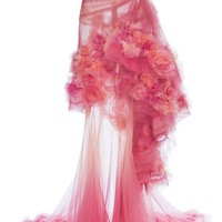 Kings And Queens Pink Sheer Mesh Tulle Ombré Gradient Strapless Draped Ruffle Maxi Dress