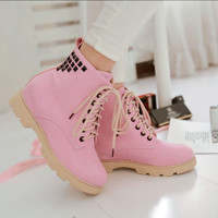 Womens inside heighten rivet studded Faux leather Lace up ankle boots shoes