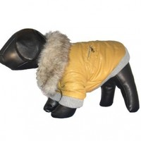 Pet Life Fur-Collared Zippered Jacket in Mustard Yellow - X-Small
