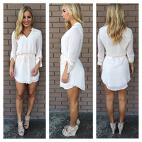 Cream 3/4 Sleeve Drawstring Dress