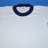 70s Blank White Blue Ringer t-shirt Youth Small