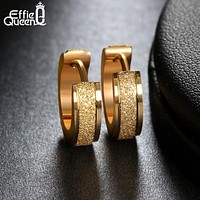 Effie Queen Fashion Scrub Gold-color Hoop Earrings Punk Rock Stainless Steel Earrings For Women Men Drop Ship Jewelry IE02