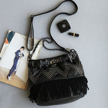 Casual Tassels Leather Rivet Chain Punk Tote Bag [6049525761]