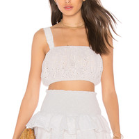 lolli swim x REVOLVE Ruth Eyelet Cropped Tank in White Eyelet