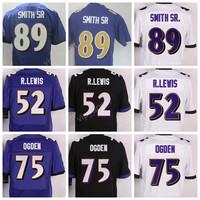 American 52 Ray Lewis Football Jerseys Sports 75 Jonathan Ogden 89 Steve Smith SR Jersey Embroidery And Sewing Team Color Black Purple White