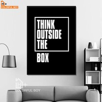 COLORFULBOY Typography Think Quotes Canvas Painting Black White Wall Art Print Modern Poster Wall Pictures For Living Room Decor