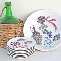 vintage 1950s salad bowl and plates - wine and cheese design