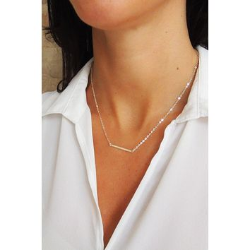 Flat Modern Horizontal Bar Necklace - Christine Elizabeth Jewelry