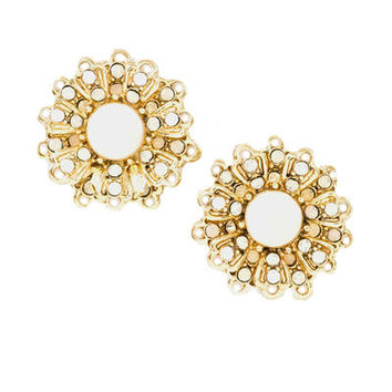 Botanical Bloom Studs in Ivory