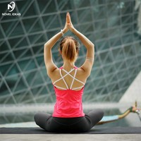 Novel ideas Sexy Backless Sports Top Bandage Fitness Crop Top Solid Women Yoga Shirts Solid Running Shirt Gym Clothes Tank Tops