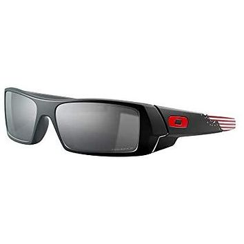 Oakley Men's OO9014 Gascan Rectangular Sunglasses, American Heritage 2020/Prizm Black Polarized, 60 mm: Clothing