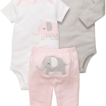 Carter's Baby Girls' 3 Pc Turn Me Around Set - Pink Elephant - 6 Months