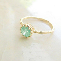 Gold druzy ring, gold ring, gold ring with green crystal, green ring, druzy crystal ring, stackable ring,  vintage ring, size 6.5