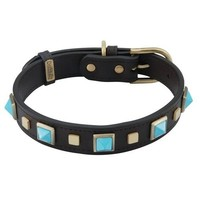 'Rock & Roll' Turquoise on Black Leather Dog Collar