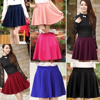 Women Candy Color Stretch Waist Plain Skater Flared Pleated Mini Skirt - One Size