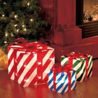 Set of 3 Lighted Gift Boxes Stripes Red Green Blue Yard Decoration Christmas