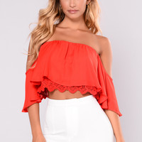 Anabelle Off Shoulder Top - Red