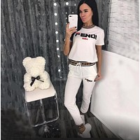 FENDI Women Short Sleeve Top Pants Two-Piece