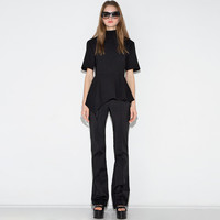 Black Short-Sleeve Stand-Collar Asymmetrical Shirt