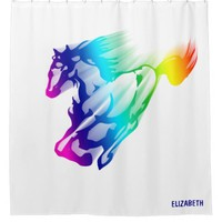 Running Rainbow Horse With Motion Trail Shower Curtain