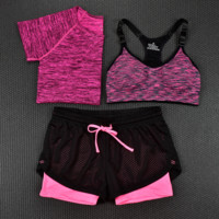 3pcs Women's Sport Bras Padded Yoga Fitness Racerback Vest Shorts Set 06