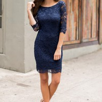 Wonderful Tonight Navy Lace Bodycon Dress