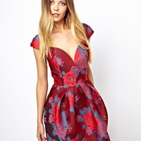 ASOS Floral Jacquard Skater Dress