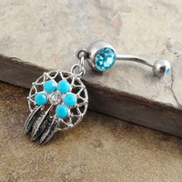 Small Turquoise Dream Catcher Belly Button Ring by CuteBellyRings