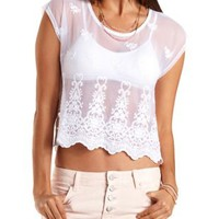 Embroidered Mesh Tee by Charlotte Russe