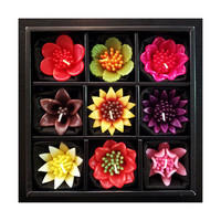 Handmade Tropical Flower Scented Floating Candles -Set of 9 Blooming Bliss BB-00672