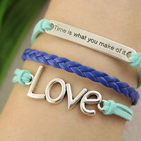 forever love bracelet--time is what you make of it charm,silver pendant,blue braid leather bracelet