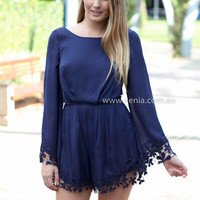 MY HEART SAYS PLAYSUIT , DRESSES, TOPS, BOTTOMS, JACKETS & JUMPERS, ACCESSORIES, 50% OFF END OF YEAR SALE, PRE ORDER, NEW ARRIVALS, PLAYSUIT, COLOUR, GIFT VOUCHER,,Blue,LACE,LONG SLEEVES Australia, Queensland, Brisbane