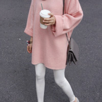 Hi-Low Textured Knit Pullover - Miamasvin loves u! Womens Clothing. Korean Fashion.