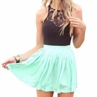 Womens Summer Sleeveless Lace Top Short Skater Pleated Dress Party Mini Dress