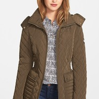 Women's Calvin Klein Quilted Coat with Detachable Plush Lined Hood,