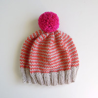 The Stripe-A-Thon Hat in Platinum, Coral, Raspberry - READY TO SHIP