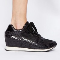 Python Leather wedge sneakers - Shop the latest Fashion Trends