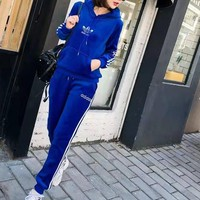 """""""Adidas""""Women's Leisure Fashion Letter Printing Long Sleeve Trousers Two-Piece Sports Suit"""
